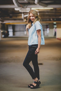 Amsterdam, Women's chambray Shirt, tiered top