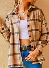 Women's taupe plaid Shacket