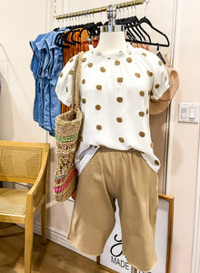 Cinque Terre, women's peasant style top, large tan contrasting Swiss dots, white with tan dots