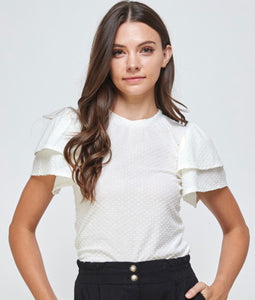Delft, Swiss dot tee, double flutter sleeve,  white