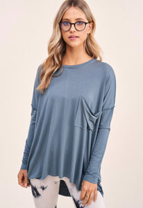 Dubrovnik, women's over sized silky, tee, sea blue