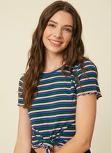 Lille, blue multi stripe lettuce edge t-shirt