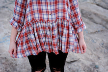 Dixie Super Soft Plaid Peplum Button Front Top