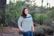 Darcy, Navy Stripe Tassel Trim Top