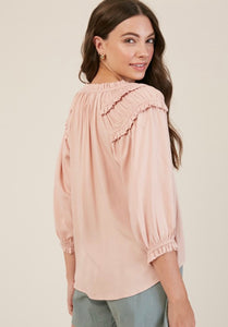 Women's blush color top with ruffled shoulder detail, Mumbai