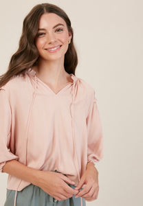Women's blush color, ruffle shoulder top with keyhole tie front, Mumbai