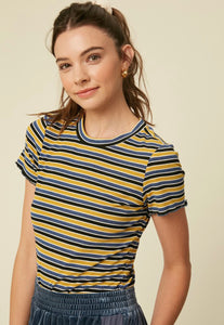 Lille, yellow multi stripe lettuce edge t-shirt