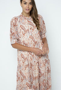 Paisley, paisley print tiered, puff sleeve maxi dress.