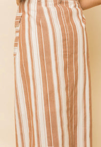 Trieste, camel and white stripe button front skirt