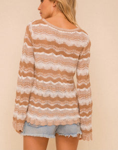 Verona, Pointelle sweater, camel and white