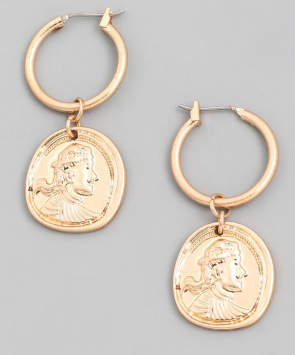 "Women's gold coin on 1"" hoop"