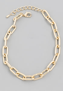Women's chunky gold oval chain necklace