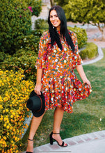 Women's tiered dress, Fall colors