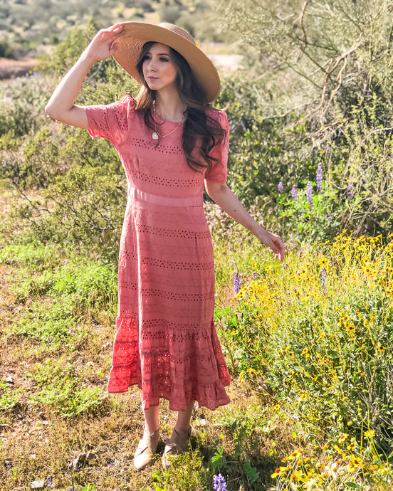 Memphis, rose eyelet fit and flair dress