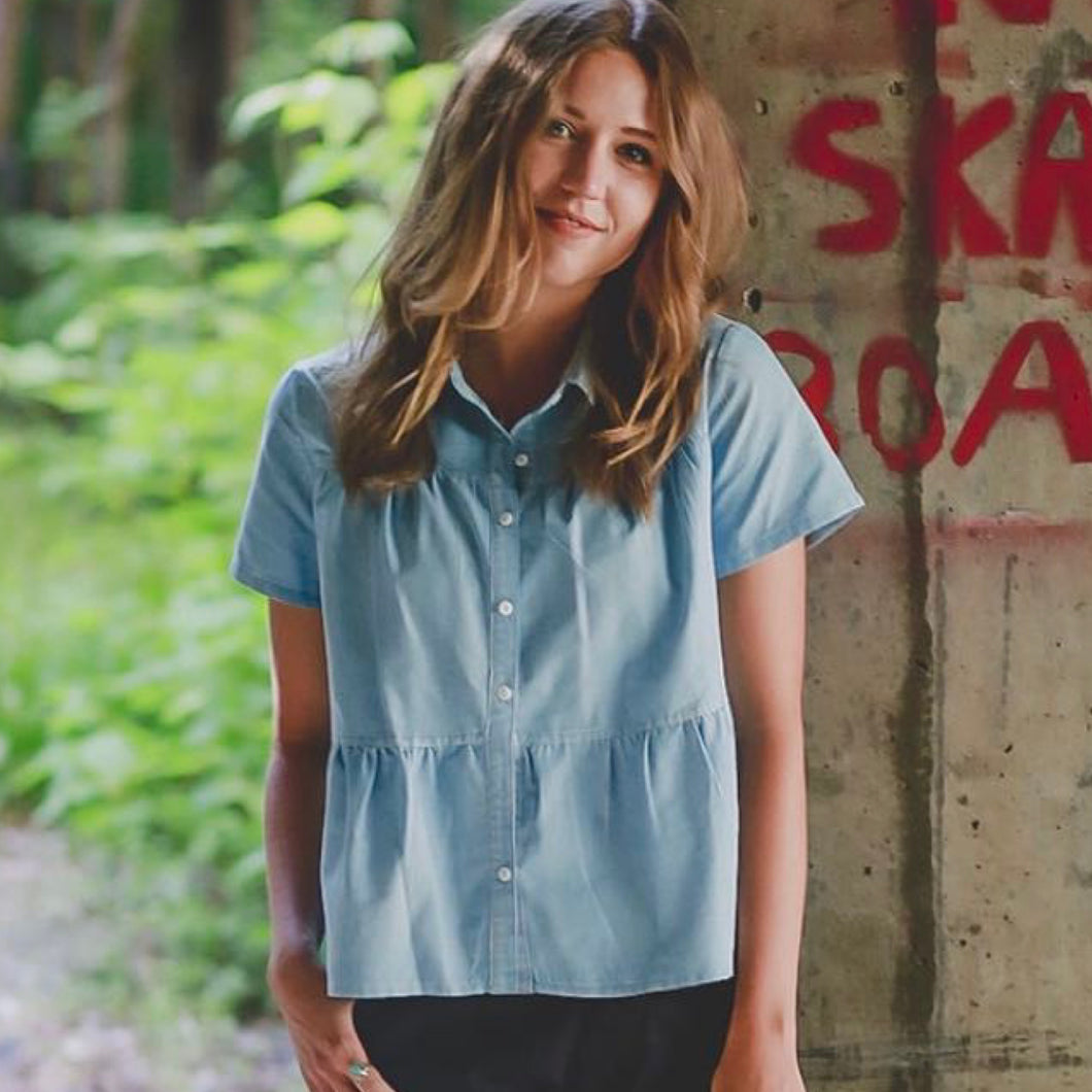 Women's tiered chambray shirt