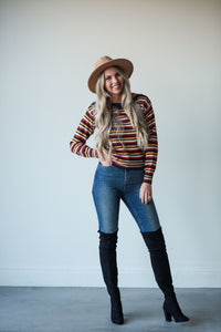Penelope, Fall Striped Pullover Sweater