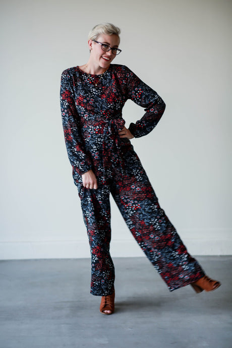 Harper dark blue floral jumpsuit
