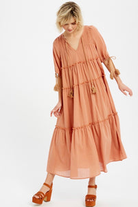 Cancun, Clay, Tiered Prairie Dress