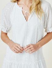 Madison, tiered white eyelet dress