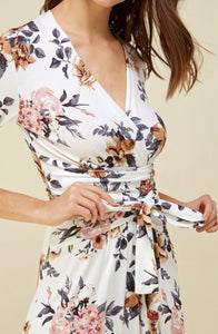 Charlotte, Women's Floral Faux Wrap Dress