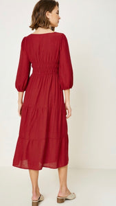 Richmond , Red Linen Midi Dress