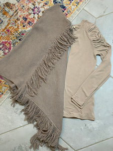 Dallas, Taupe Poncho Sweater