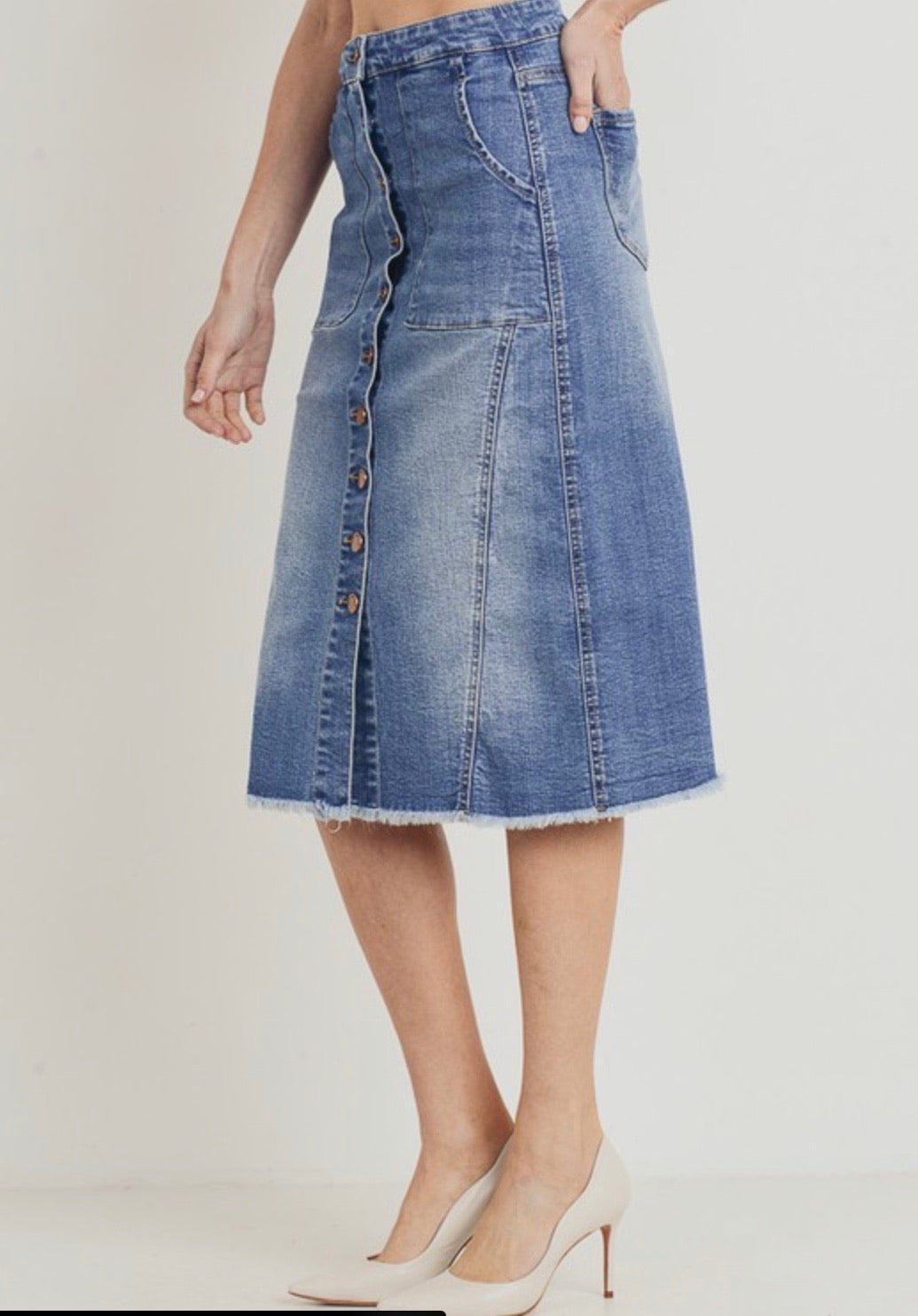 Kansas City, High Waisted, button front, Denim, Midi Skirt