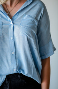Belle, Oversized Light Blue Button Down Shirt