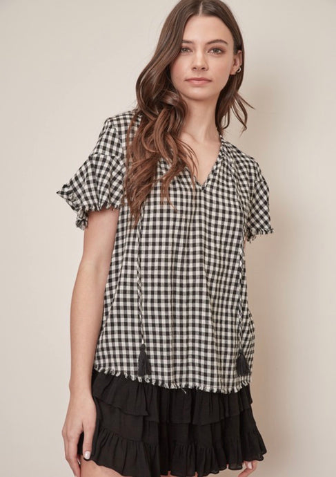 Manchester, gingham blouse
