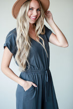 Lucia, charcoal v-neck jumpsuit