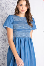 Toulon Women's smocked, embroidered, Chaymbray dress, medium blue