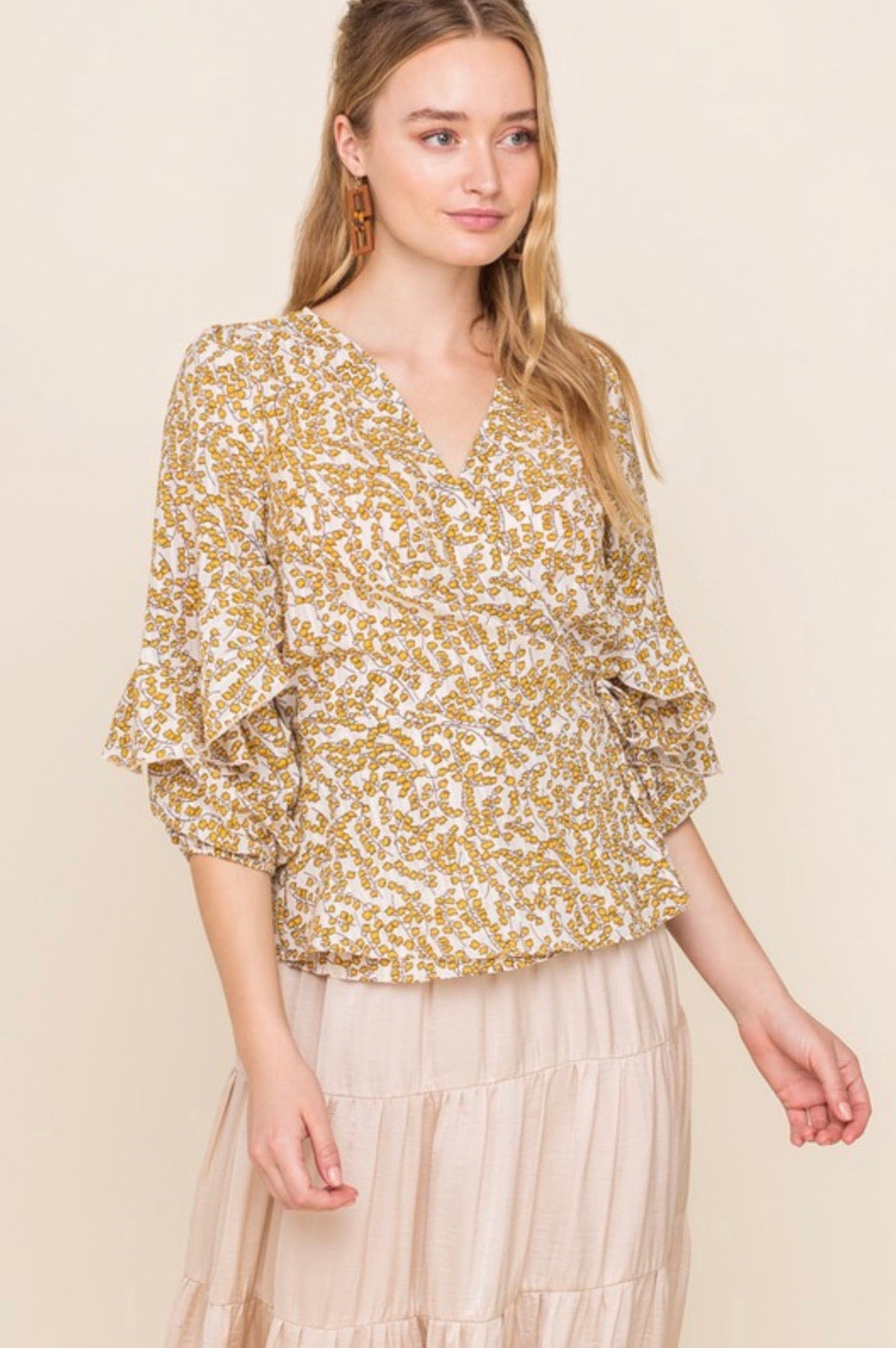 Lafayette, yellow floral, ruffle puff sleeve wrap top