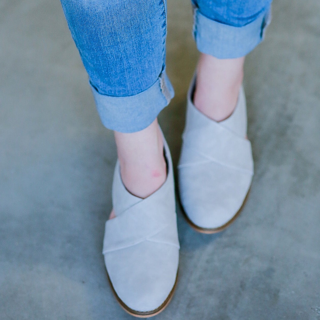 Maisie Grey suede loafer shoe