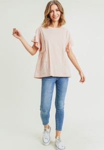 Tangier, ruffle sleeve cotton knit top
