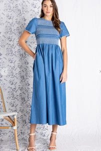Toulon, Smocked, Chambray Dress