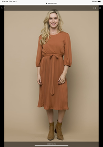 Tuscany, Terra-cotta, Pleated Dress.