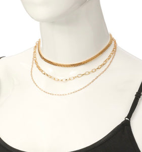 Triple Strand Gold Chain Necklaces