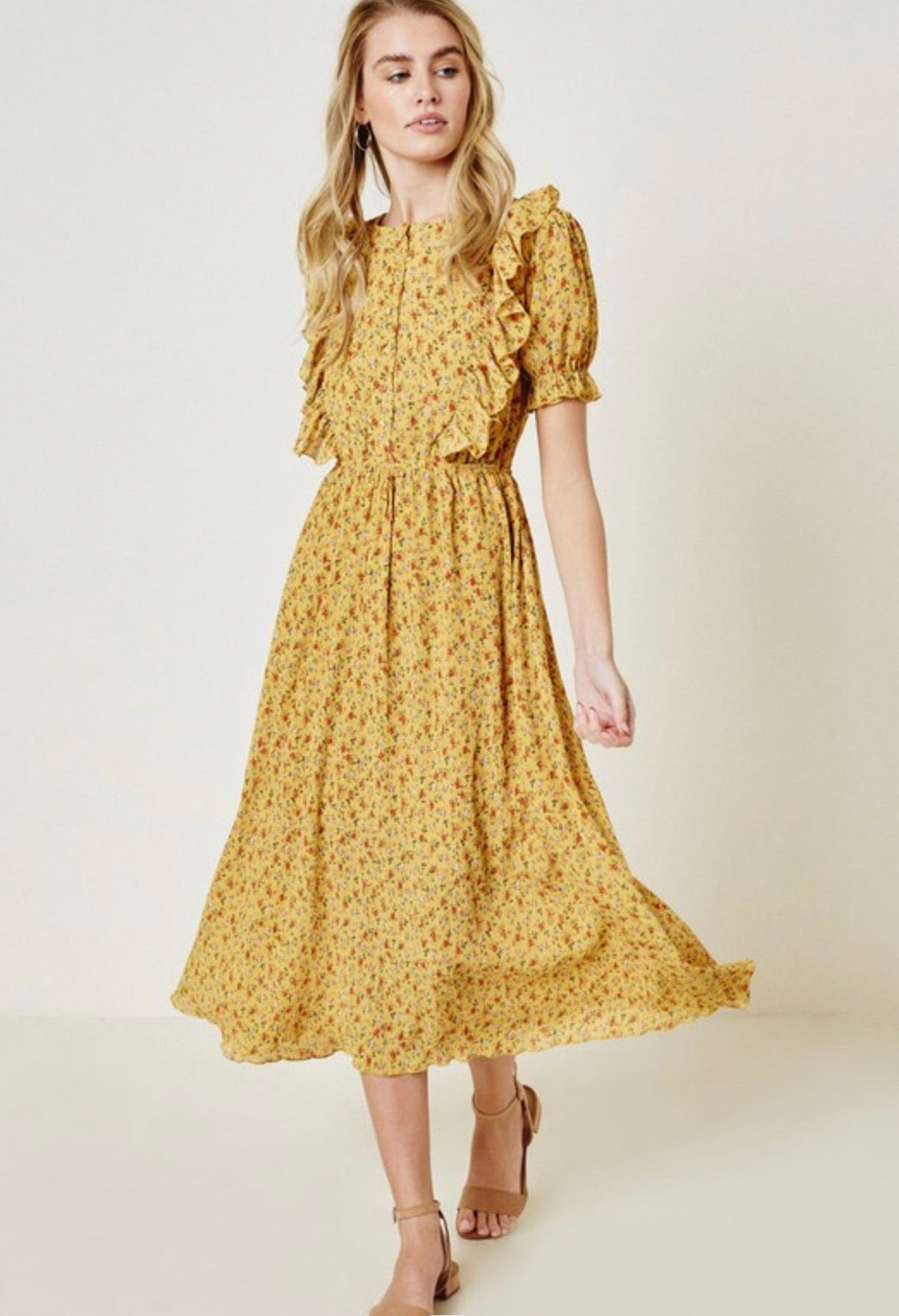 Lucerne yellow ruffled calico dress