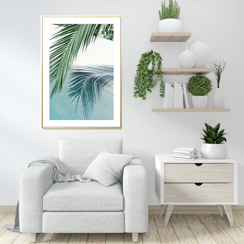 Tropical Palm and Beach Canvas Art