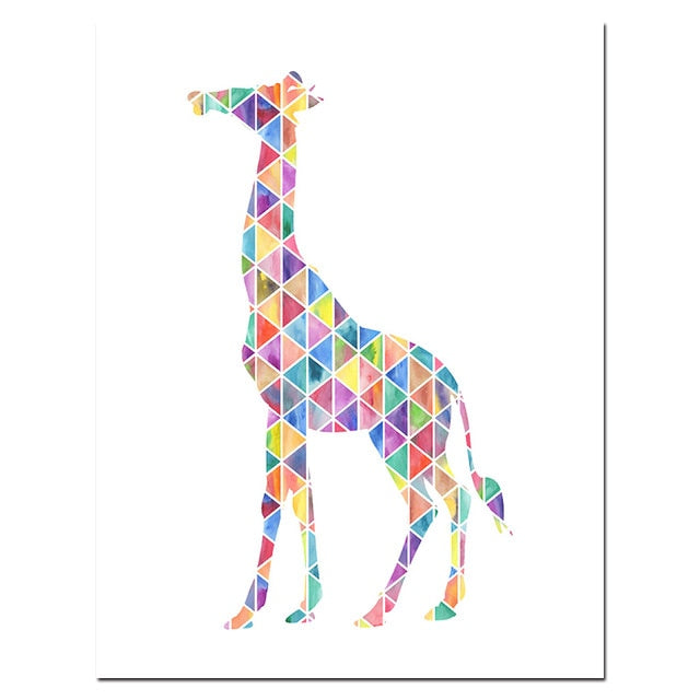Nursery Watercolor Giraffe Canvas Art