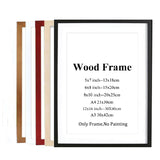 Black White Red Blue Solid Nature Wooden Frame For Wall Mounting Hardware Included