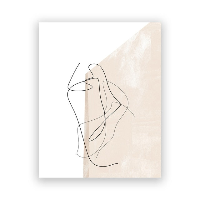 Contemporary Abstract Line Drawing Canvas