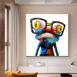Modern Frog with Glasses Graffiti Pop Art Canvas