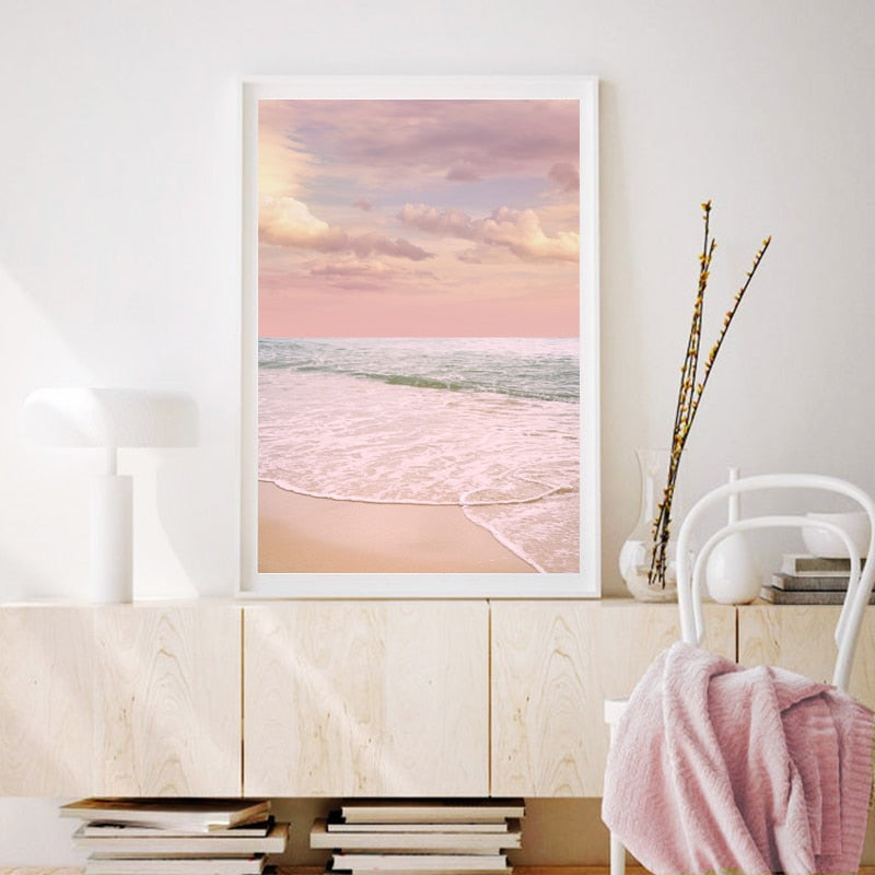 Pink Clouds Over The Beach