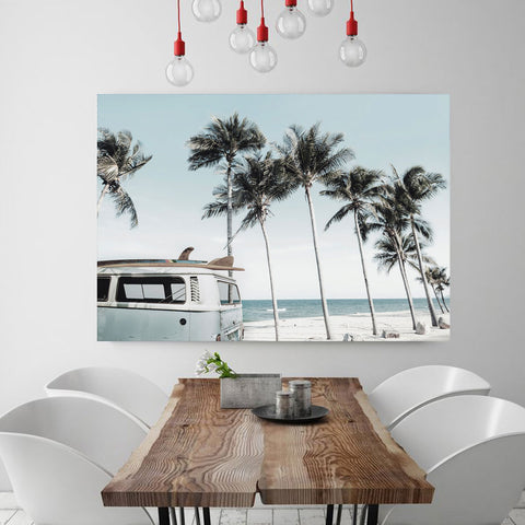 Camper Van & Palms Beach Canvas