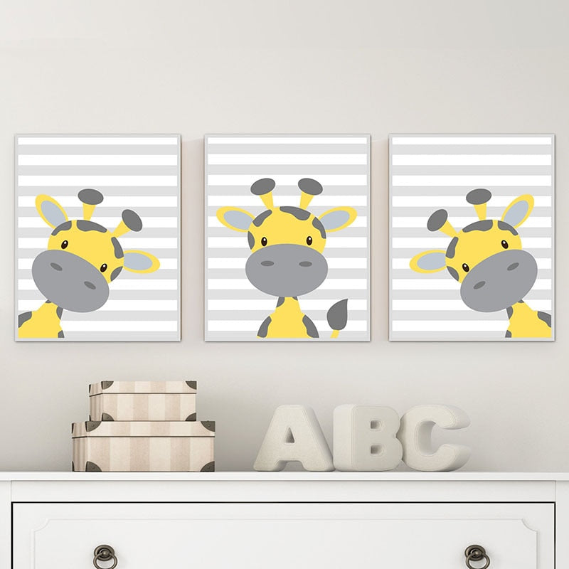 Nursery Centre Giraffe Canvas Art