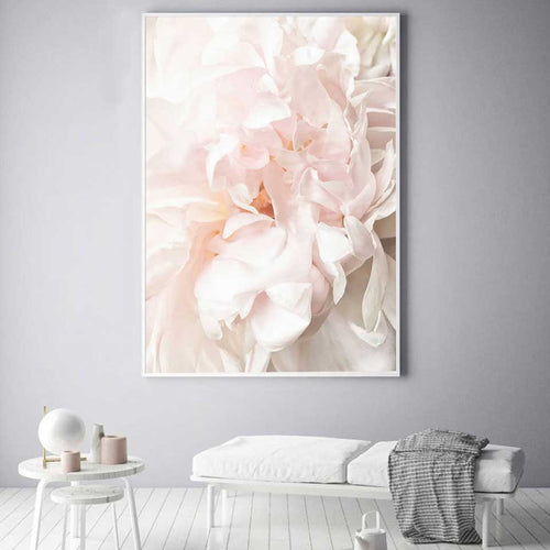 Pink Peony Floral  French Love Adore Canvas