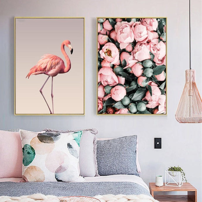 Flamingo & Pink Rose Flowers Canvas Art