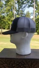 Load image into Gallery viewer, Black on Gray Logo Mesh Snapback Trucker Hat