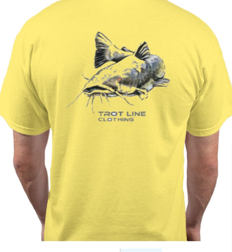 LARGE - Trot Line Clothing Catfish Tee - Yellow